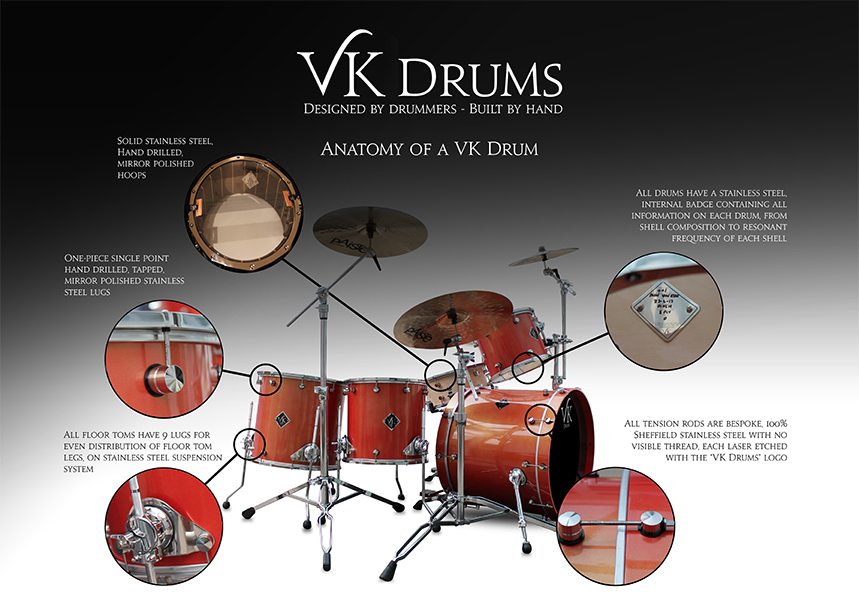 VK custom drums hand built drums UK
